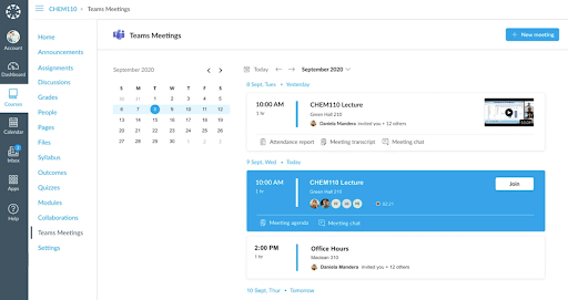 Fig. 6: Integration of MS Meeting Scheduler in Canvas